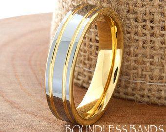 Rotgold Ehering Ring 6mm 18K zwei Ton Mann Hochzeitsband