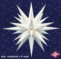 Classic german christmas star from Herrnhuter. In plastic or paper and different colors available.