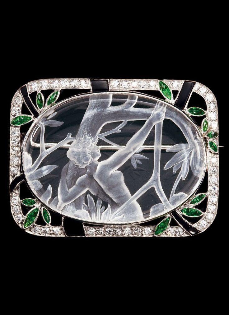 Art Deco rock crystal brooch emeralds/diamonds/enamel