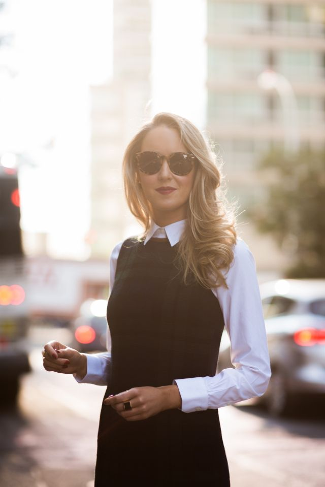 This is such an easy way to add extra layers and make a sleeveless dress more appropriate for the office.