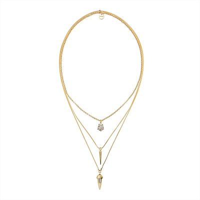 Long and layered, our Pendantic Drop Necklace will give an instant twist to those day or night ensembles.