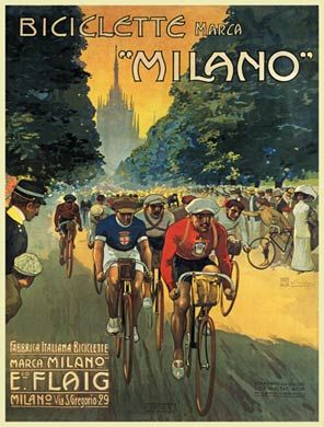 1912 poster for the Italian bicycles showing race action with the distinctive shape of Milan Cathedral in the background