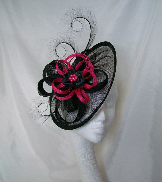 Black Sinamay Saucer Curl Feather And Cerise Hot Pink Loop Pearl Cecily Fascinator Hat Derby Ascot Custom Made To Order