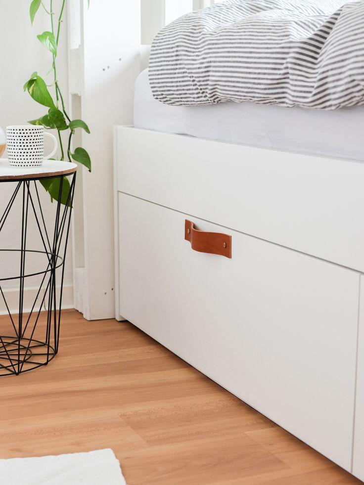 Wie Ich Mein Bett Mit Paletten Kopfteil Und Ledergriffen Optimiert Habe Ikea Schubladen Bett Mit Schubladen Ikea Brimnes Schrank