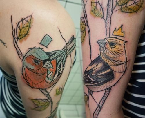 Lady and gentle chaffinch | Sven at Scratcher's Paradise Tattoo