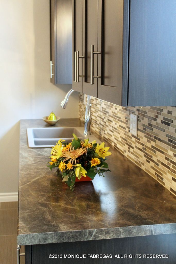 Slate Sequoia plastic laminate countertops on polyester-wrapped custom kitchen cabinets.