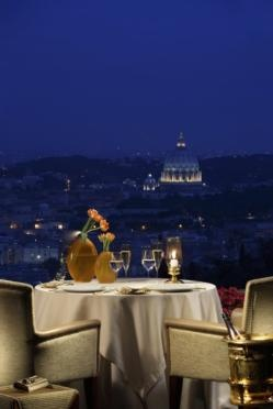 a view of Rome from La Pergola restaurant Italy