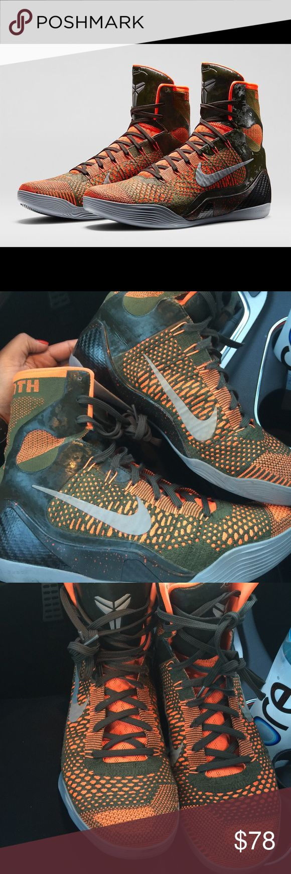 Kobe 9 High Elite Orange Sequoia Black Green Really good condition! Worn only indoors! Great grip ! Nike Shoes Sneakers