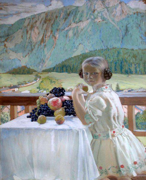 Boris Kustodiev....Portrait of daughter Irina