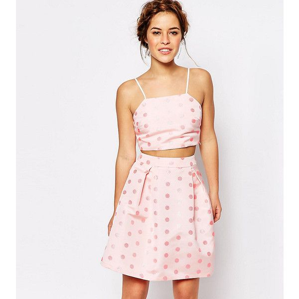 True Decadence Petite Cami Crop Top In Textured Spot ($18) ❤ liked on Polyvore featuring tops, petite, pink, cropped camis, polka dot tops, pink cami top, camisole tops and white top