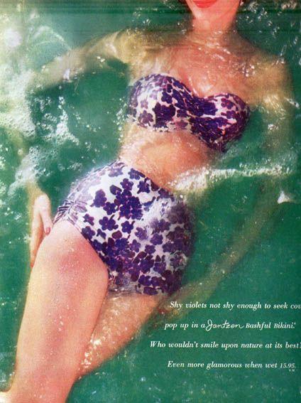 Раздельный купальник «Ретро – бикини» (выкройка - схема) - «Ретро стиль, мода и шитье»_Купальник ретро Jantzen 1960