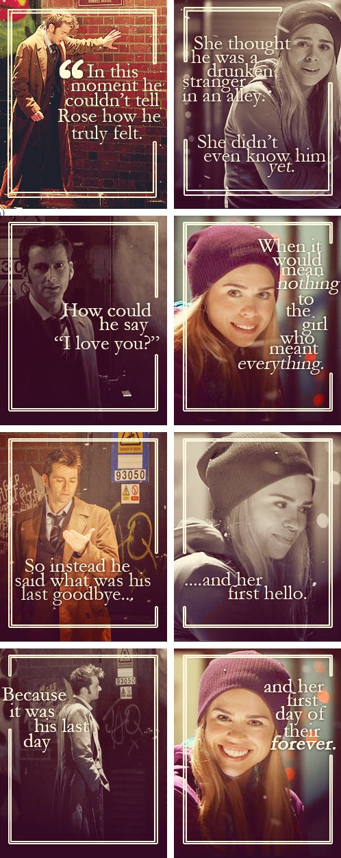 Rose Tyler and the 10th Doctor Doctor Who. Go ahead, make me cry until I rip a hole in Time and Space.<< My thoughts exactly.