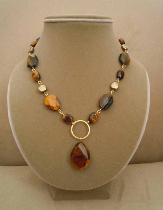 Tigertail Brown and Blue Tigers Eye and Pyrite by BouvierJewelry, $98.00 #teampinterest