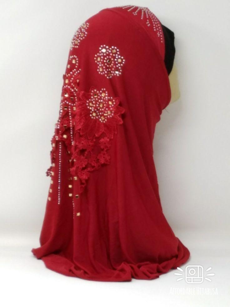 Amour Al Amira Hijab $24.99 Amour Al Amira Hijab with beautiful Lace Applique And Rhinestone Burgundy 1pchttps://store13211292.ecwid.com/#!/Amour-Al-Amira-Hijab/p/101697806