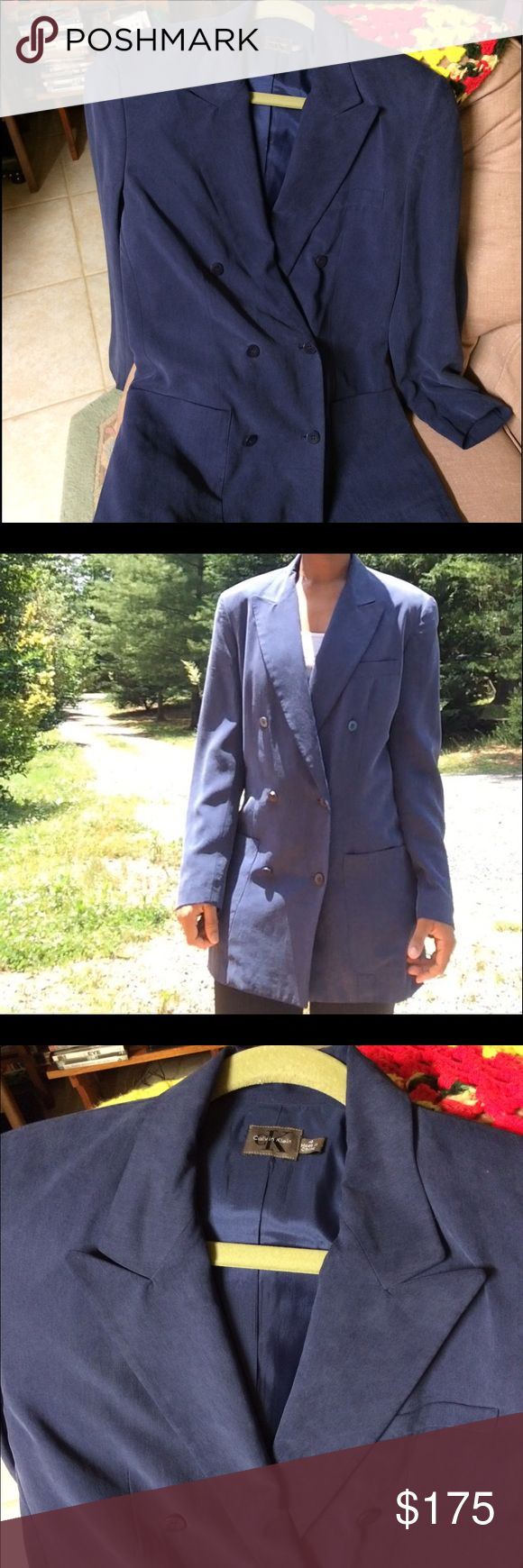 Calvin Klein Sportcoat Indigo Calvin Klein 100% silk jacket. Product is free from stains and kept in a smoke/pet free environment Calvin Klein Collection Jackets & Coats Blazers