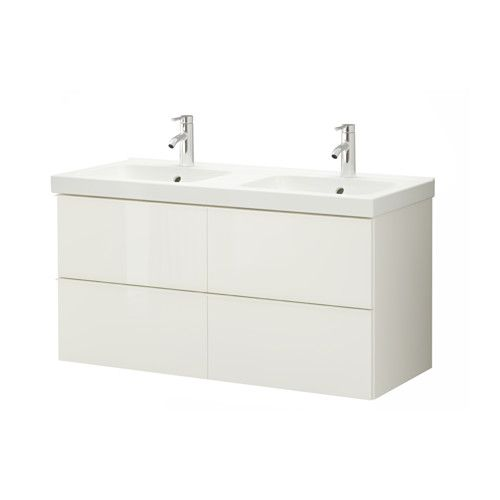 "GODMORGON / ODENSVIK Sink cabinet with 4 drawers - high gloss white, 47 1/4x19 1/4x25 1/4 "" - IKEA"