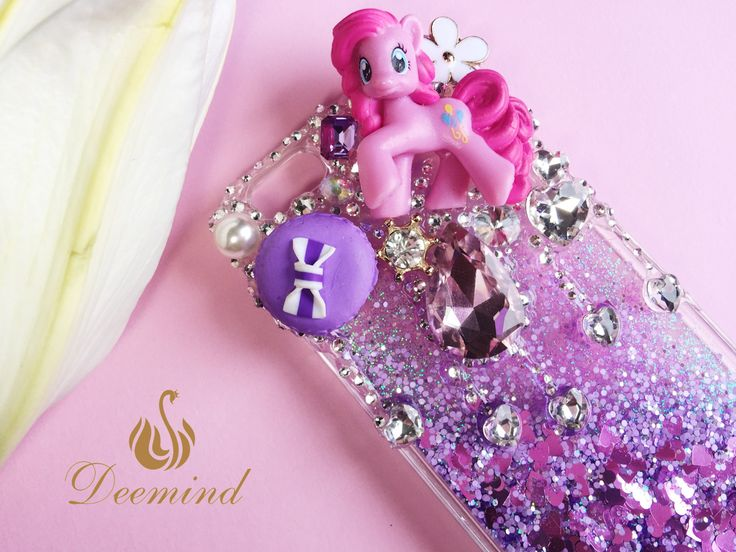 DIY Personalised purple My Little Pony phone case, Decoden Glitter Shining Dynamic Heart Quicksand Liquid Hard Cover Case for iPhone 6s 6 7 by Deemindstudio on Etsy