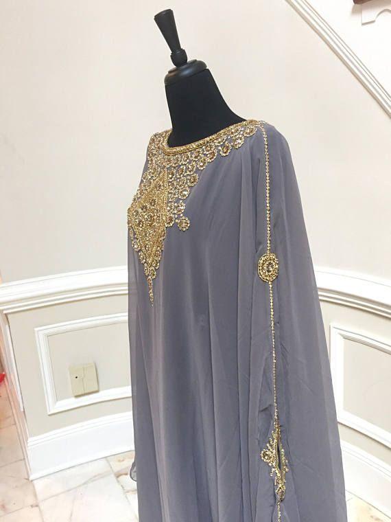 Egyptische godin Abaya Caftan verfraaid Kaftan jurk
