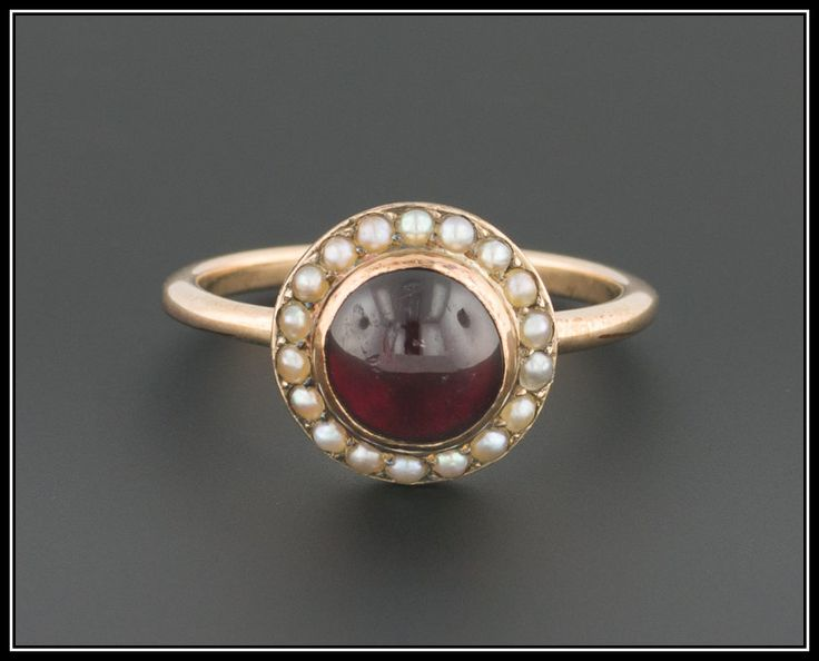 Antique Garnet & Pearl Ring, 10k Gold Ring by TrademarkAntiques on Etsy