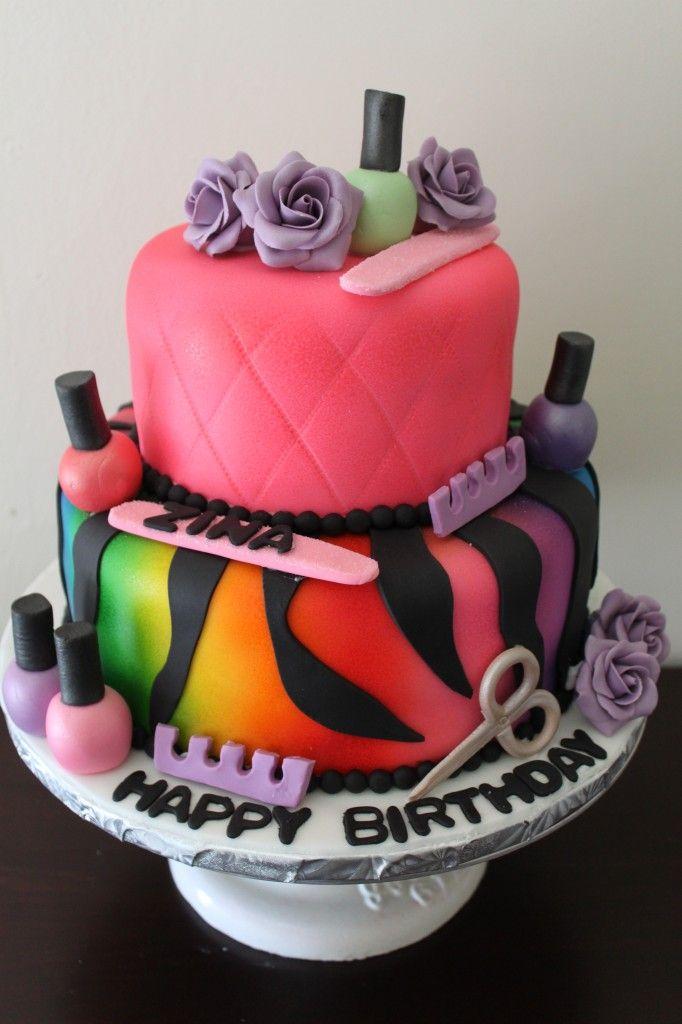 Happy Birthday Nail Polish Cake