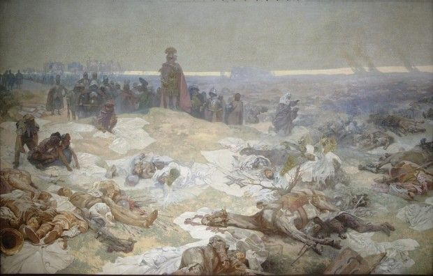 'The Slav Epic' cycle No.10: After the Battle of Grunewald. The German Catholic military order of the Teutonic Knights settled in the Baltic area in the early 1400s in a bid to spread Christianity among the pagan tribes in the region, and to Poland and Lithuania beyond. To defend their lands from Catholic colonisation, the Slavs, the Poles and the Lithuanians defeated the Tuetonic Knights in a fierce battle at Grunewald in Poland.The Polish king Wladyslaw stands in the middle of the…