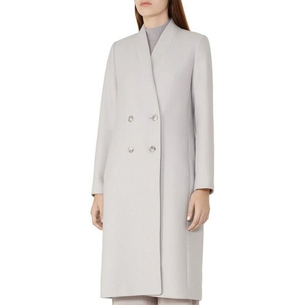 Reiss Pirrin Wool-Blend Coat (1,435 ILS) ❤ liked on Polyvore featuring outerwear, coats, frost gray, grey double breasted coat, wool blend double breasted coat, reiss coat, double-breasted coat and reiss
