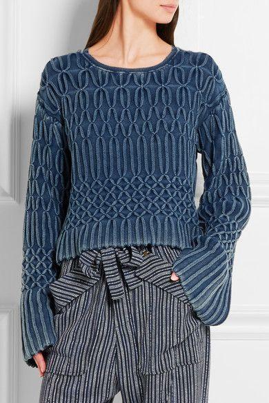 Chloé | Cable-knit cotton sweater | NET-A-PORTER.COM