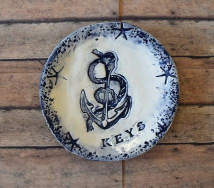 Anchor Nautical Dish for Keys Realtor Closing Gift by InGodWeTrustCeramics on Etsy