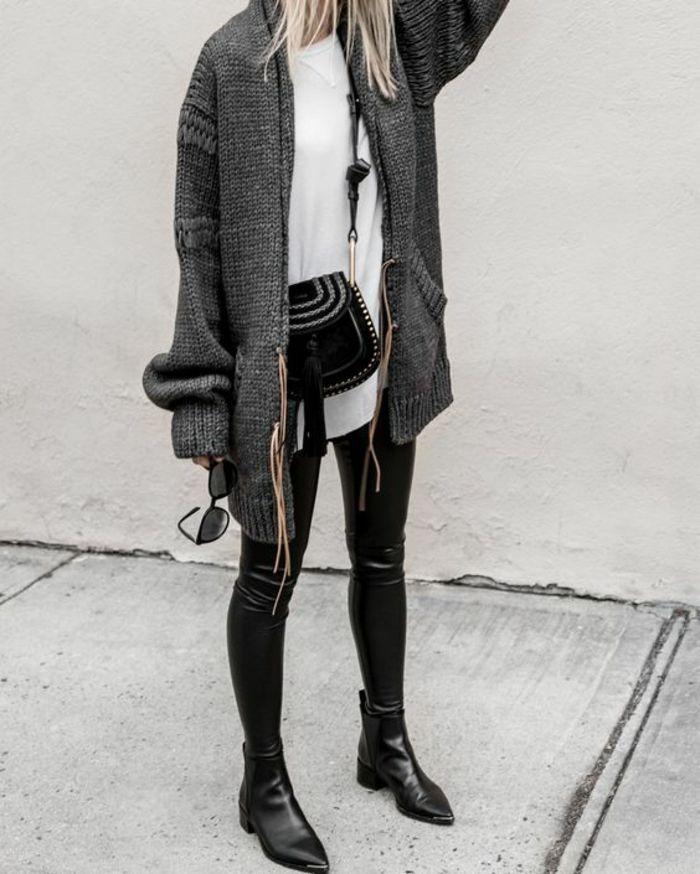 tendance cuir, une tenue chic et confortable, gilet oversize gris et des pantalons cuir femme