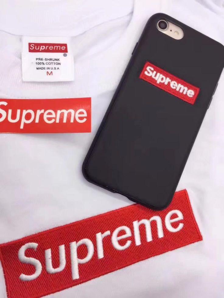 iphone8/7s/6s ケース ブランドストリートファッションSupremeシンプル革製刺繍全包みソフト6splusシュプリーム黒い赤いアイフォン7plus/7携帯カバーお揃い