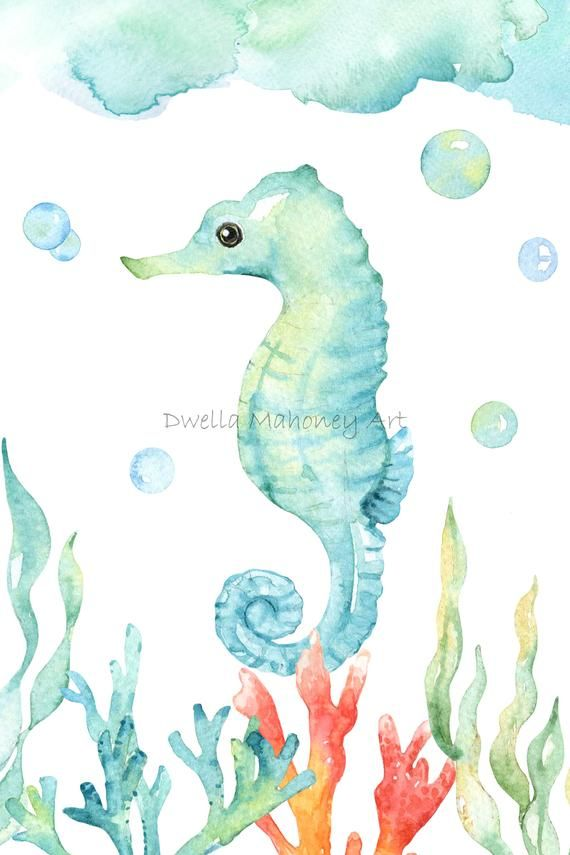 Under The Sea Nautical Nursery Prints Wall Art Watercolor Etsy