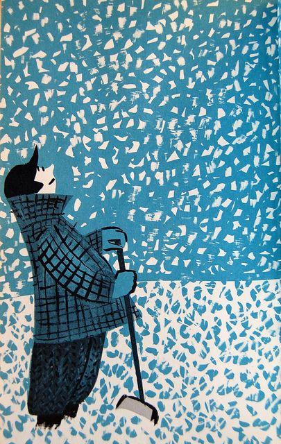 Illustration by Roger Duvoisin in Spring Snow written and illustrated by Roger Duvoisin. New York: Knopf, 1963.