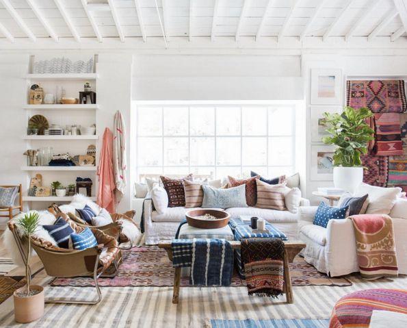 Bohemian Decorating Ideas Blue Pink Beige Living Room
