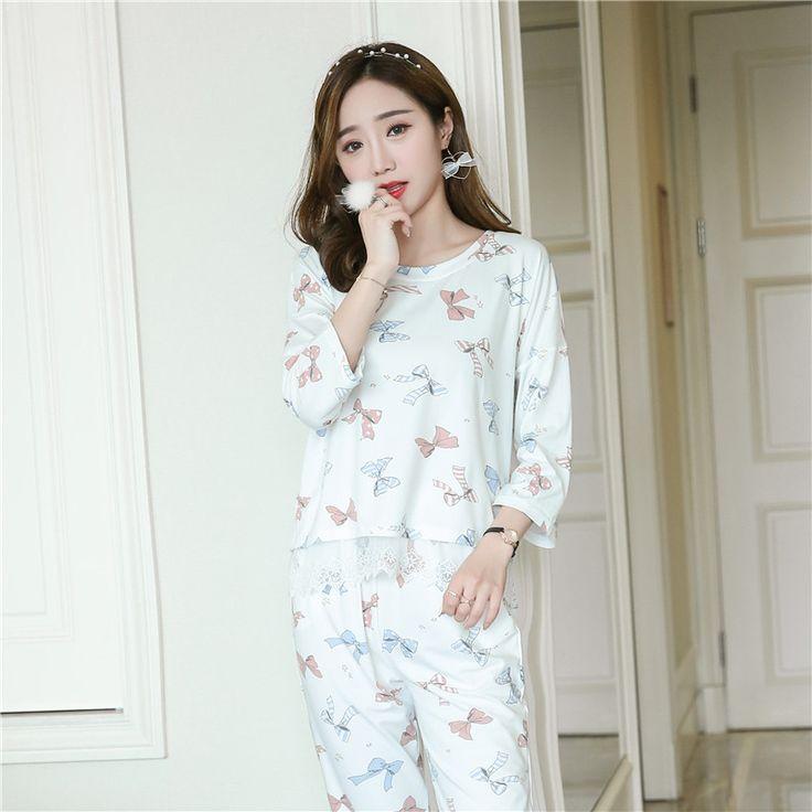 JRMISSLI  Pajamas For Women Pijamas Mujer Pijama Entero Pyjama Femme Three Quarter M-2XL Home Clothing #Affiliate