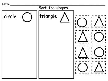FREE Sorting Shapes Practice Pages- Both 2-d and 3-d (Soli