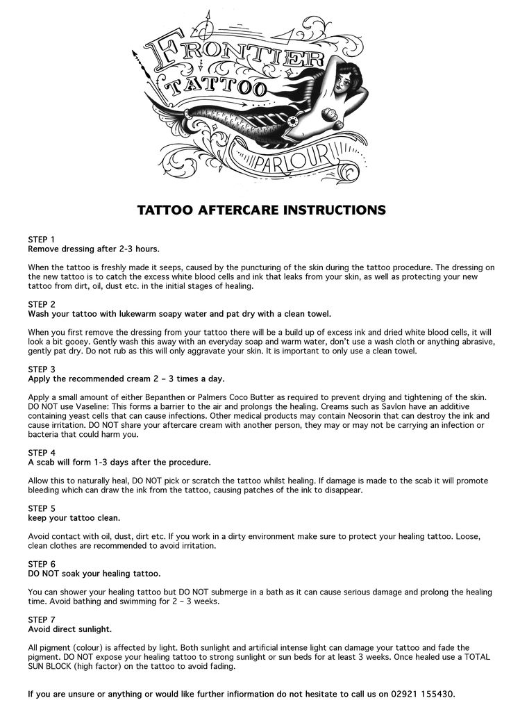 Tattoo Aftercare - Frontier Tattoo Parlour