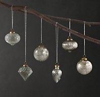Mini Vintage Hand-Blown Glass Ornament (Set of 6) - Silver