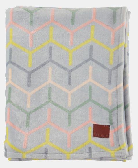 Micro fleece grå m multifarget sikk sakk