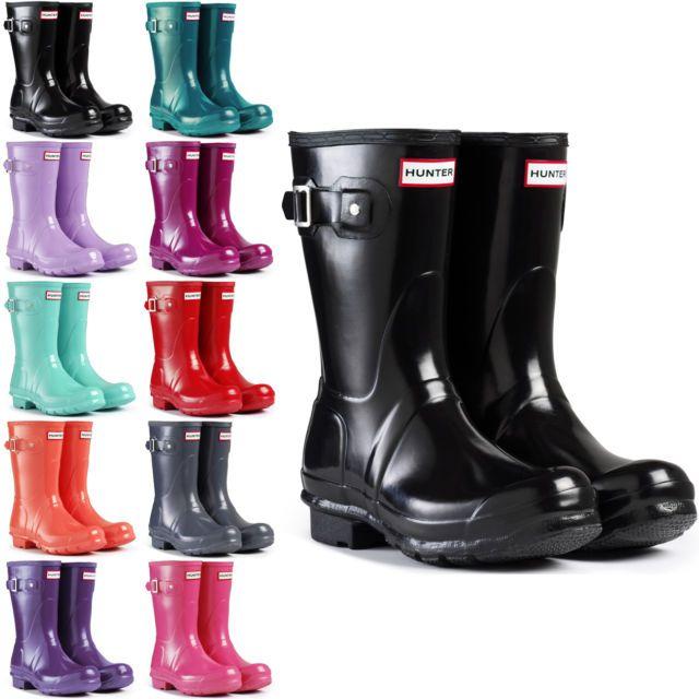 Hunter Wellington Boots Original Short Gloss Wellies in BLACK, LAGOON GREEN, WISTERIA, VIOLET, MINT, PILLAR BOX RED, FLAME, GRAPHITE, SOVEREIGN PURPLE & FUSHIA