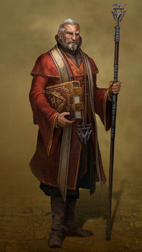 Human Male Wizard Spellcaster Arcane Spellbook Staff Light Old generic
