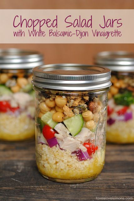 Chopped Salad Jars with White Balsamic-Dijon Vinaigrette - make 4 healthy and delicious lunches at once, and keep them in the fridge all wee...