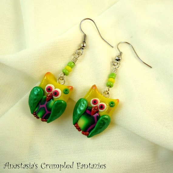 Yellow green polymer clay fimo owl earrings by CrumpledFantazies