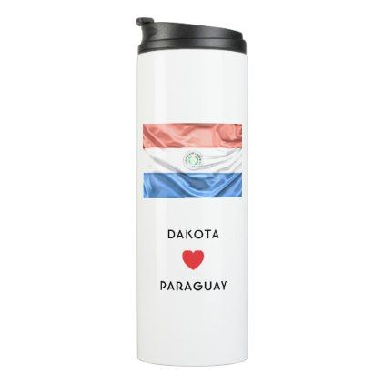 #Custom I Heart Flag of Paraguay Thermal Tumbler - #travel #trip #journey #tour #voyage #vacationtrip #vaction #traveling #travelling #gifts #giftideas #idea