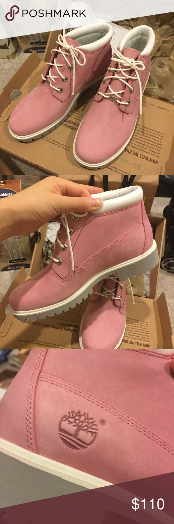 NEW Timberland Nellie in PINK Brand new, never worn, and still in the original box! This is a pair of Timberland Nellie in size 8, currently being sold on the timberland website for $130. Super cute and comfy! Timberland Shoes Ankle Boots & Booties
