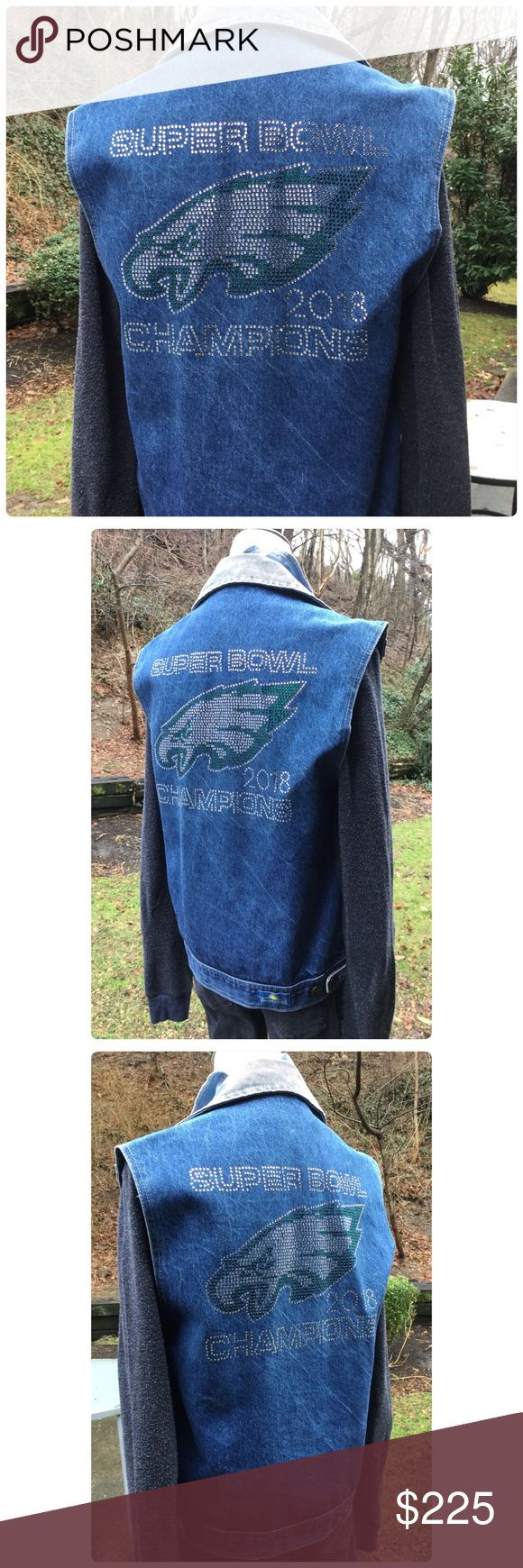 "Super Bowl Champions Eagles VTG Denim Vest Fly Eagles Fly 🦅💕 this is an amazing vintage vest made even more amazing with a 2018 Eagles Super Bowl Champion encrusted in Rhinestone on the back. Two huge front pockets, button down, some expected vintage character wear, 3 eagles pins included, approx measurements 19"" pit to pit, 23"" long, will fit size small to medium depending on what you wear underneath and how you like a fit. One of a kind, amazing heirloom, made with love. DezChic Tops"