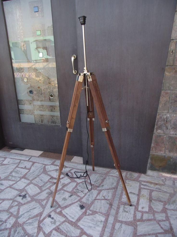 75.00   3 Fold Brass Corner Tripod Floor Lamp Stand Natural Wood Decorative Floor Lamp