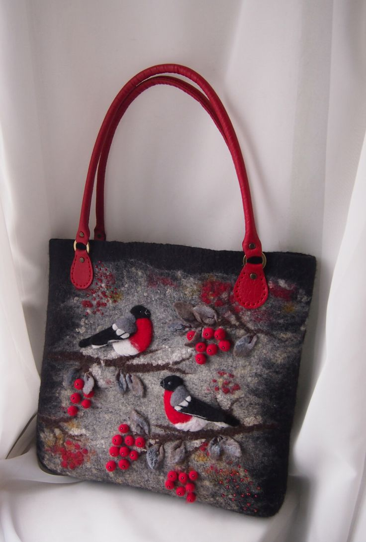 Felted bag-Felted handbag-Bullfinches-Felted wool purse-Felted purse-Art handbag-Natural Leather handles-Felt bag-Red,Black by YuliasFeltworld on Etsy https://www.etsy.com/listing/251812128/felted-bag-felted-handbag-bullfinches