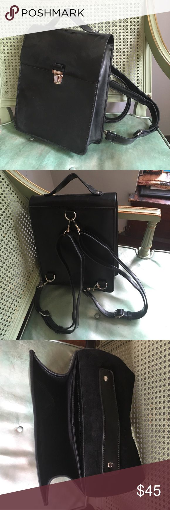 Urban Outfitters black backpack Urban Outfitters brand. Like new! Only used once!!! Black, with silver clasp on front. Urban Outfitters Bags Backpacks