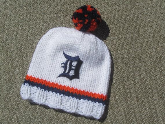 DETROIT TIGERS Hand Knit Baby Hat  Detroit Tigers by UpNorthKnits