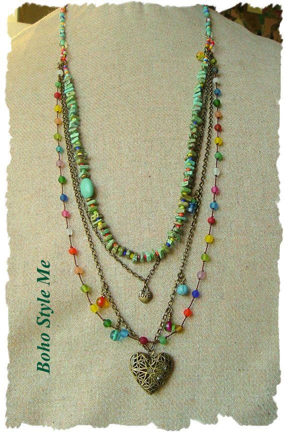 Joyas de Bohemia coloridas capas collar Hippie por BohoStyleMe